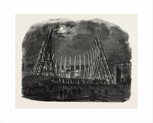 Raising the Trusses of the Building in Leicester Square by Anonymous
