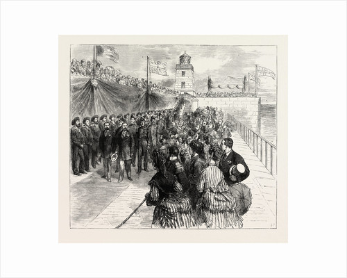 Inauguration of the Holyhead Breakwater and Harbour of Refuge by H.R.H. The Prince of Wales: The Prince of Wales and the Duke of Edinburgh Returning Along the Breakwater, Wales by Anonymous
