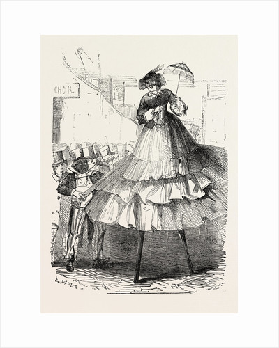 The Derby Day, Scenes by the Roadside and on the Downs: Crinoline on Stilts. UK by Anonymous