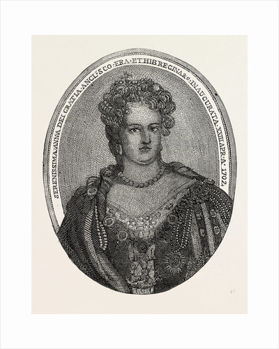 Portrait of Queen Anne Composed Entirely of Minute Writing by Anonymous