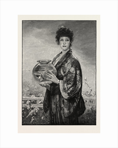 A Woman Holding a Fishbowl Containing Gold Fish by Anonymous