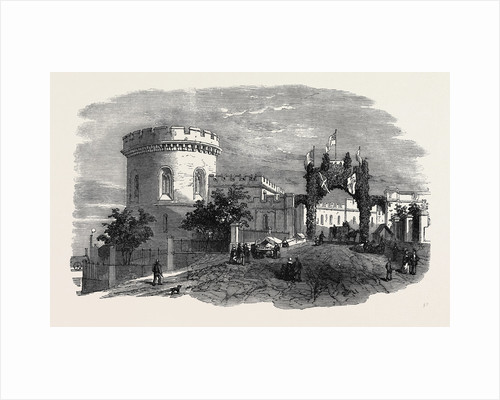 Meeting of the Royal Agricultural Society of England, at Carlisle: The Court Houses, Carlisle, and Triumphal Arch, August 11, 1855 by Anonymous