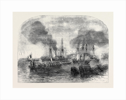The Bombardment of Sveaborg: French Gun Boats Going to the Battery with Shot and Shell by Anonymous