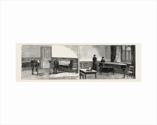 The Royal College of Music South Kensington: One of the Violin-Class Rooms (Left Image) One of the Singing-Class Rooms (Right Image) by Anonymous