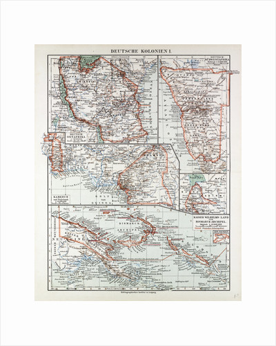 Map of German Colonies German New Guinea Cameroon 1899 by Anonymous