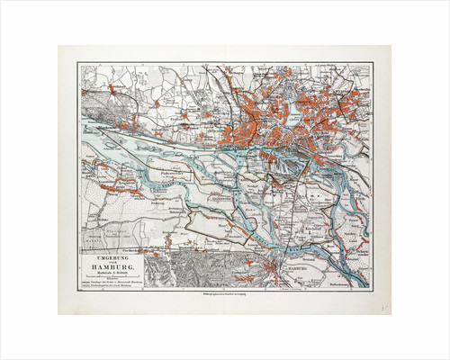 Map of Hamburg and the Surrounding Area Germany 1899 by Anonymous