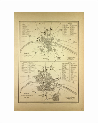 Map of Paris in the 12th Century and in the 14th Century France by Anonymous