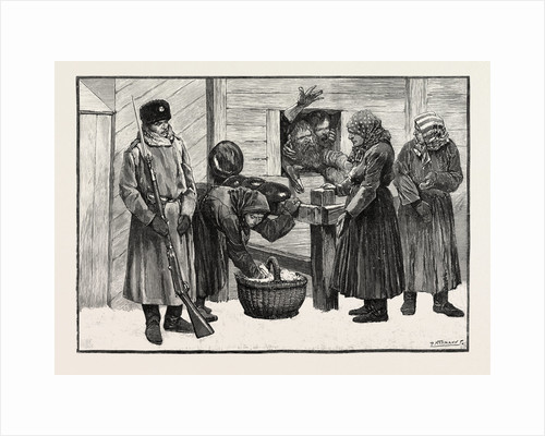 Sketches in Siberia Courtyard of the Prison for Criminals at Krasnoiarsk: Peasant Women Selling Bread Tea and Sugar to Prisoners. by Anonymous