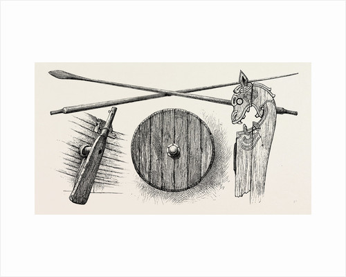 The Viking's Ship: The Rudder, Oars, a Shield and One of the Tilt-Heads by Anonymous