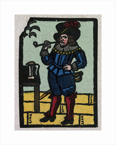 Illustration of English Tales Folk Tales and Ballads. A Man Wearing Colourful Clothes and Smoking a Pipe by Anonymous