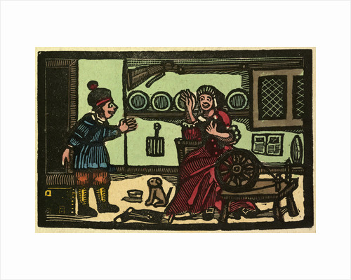 Illustration of English Tales Folk Tales and Ballads. Old English Interior. Woman with Spinning Wheel. Man and Dog by Anonymous
