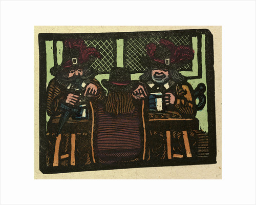 Illustration of English Tales Folk Tales and Ballads. Three People Talking While Having a Drink by Anonymous