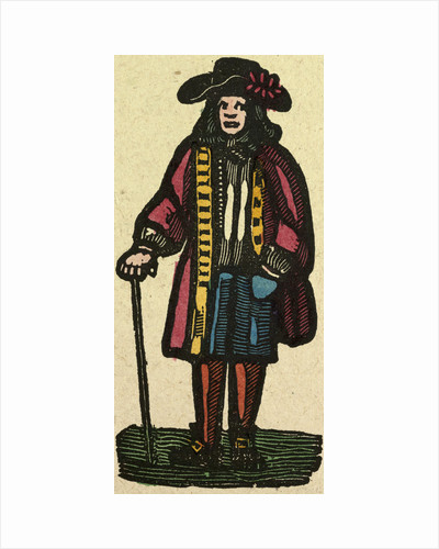 Illustration of English Tales Folk Tales and Ballads. A Man Wearing Colourful Clothes Holding a Walking Stick by Anonymous