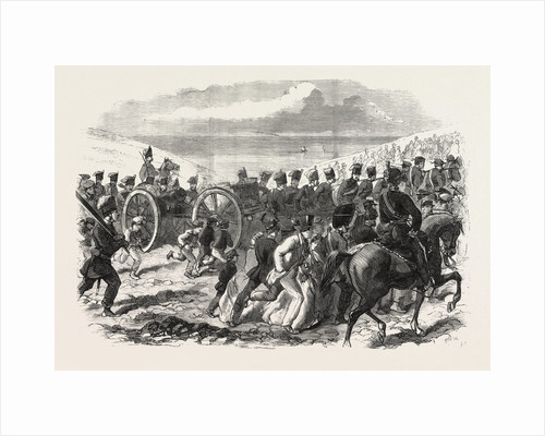 The Volunteer Sham Fight at Brighton on Easter Monday: The Sussex Artillery Ascending the Downs by Anonymous