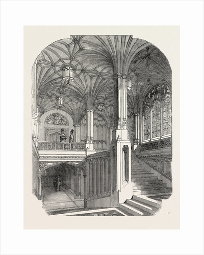 The New Houses of Parliament: Member's Staircase House of Commons 1854 UK by Anonymous