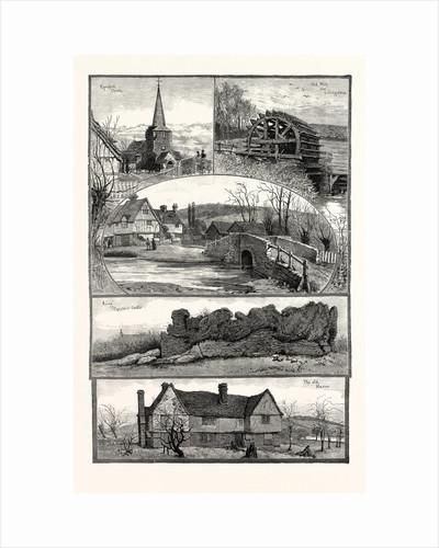 Eynsford, Kent, UK, 1887. Eynsford Church, Old Mill Near Lullingstone, the Bridge, Ruins of Eynsford Castle, the Old Manor by Anonymous