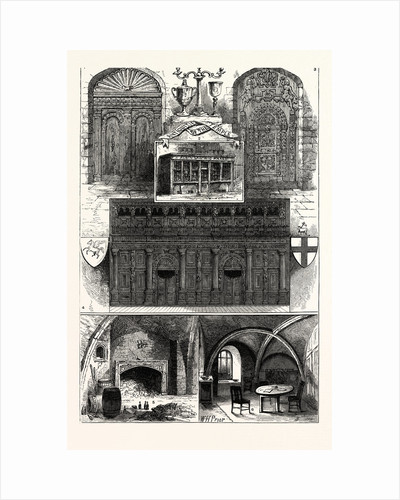1. Door from the Middle Temple. 2. Wig-Shop in the Middle Temple. 3. Door from the Inner Temple. 4. Screen of the Middle Temple Hall 5. Fireplace in the Inner Temple. 6. Buttery of the Inner Temple. by Anonymous