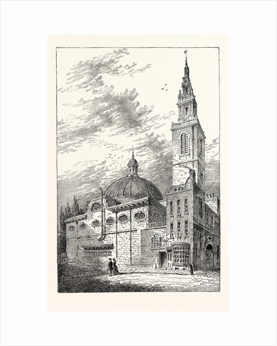 Exterior of St. Stephen's Walbrook in 1700 London by Anonymous