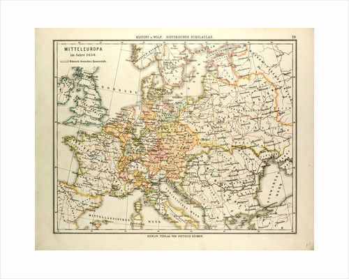 Map of Central Europe in 1650 by Anonymous