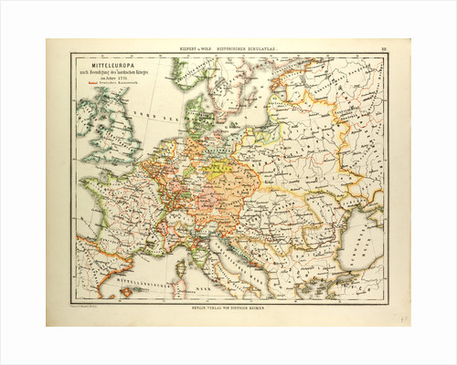 Map of Central Europe in 1721 by Anonymous