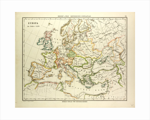 Map of Europe in 1519 by Anonymous