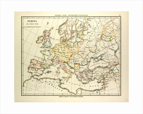 Map of Europe in 1150 by Anonymous