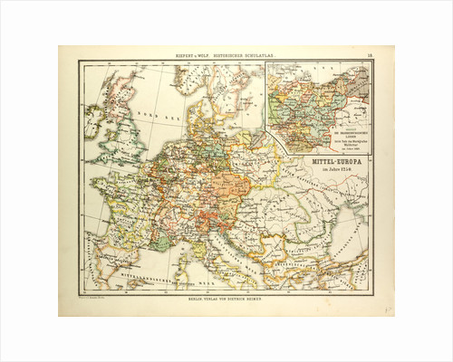 Map of Central Europe in 1250 by Anonymous