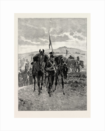 The Cavalry Manoeuvres: The End of the Day, Lancers Leading Their Horses Into Camp after a Long Day's March by Anonymous