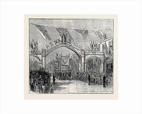 The Duke and Duchess of Teck at Southport: The Triumphal Arch in Chapel Street by Anonymous