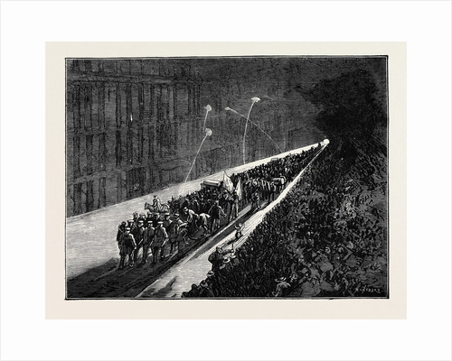 Sketches in New York During the Presidential Election: Evening Procession of Political Clubs Viewed from a Window by Anonymous