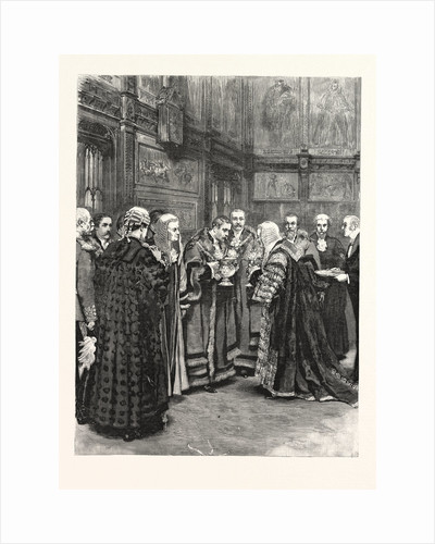 The Lord Chancellor Expressing Her Majesty's Approval of the Election of Mr. Alderman Evans As Lord Mayor Presenting the Loving Cup in the Princes' Chamber of the House of Lords by Anonymous