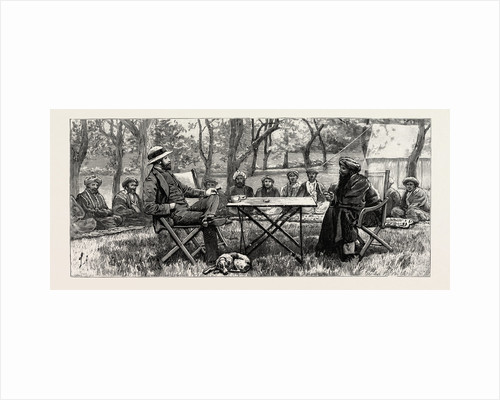 Colonel Durand and the Rajah Akbar Khan Holding a Consultation in the Orchard at Gakuch May 7 1891 by Anonymous