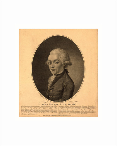 Half-Length Portrait of French Balloonist Jean-Pierre Blanchard. 1785 by Anonymous