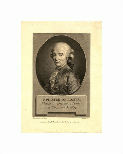 Oval Head-and-Shoulders Portrait of French Balloonist Jean-François Pilâtre De Rozier, Who Took the First Balloon Flight in 1783. by Anonymous