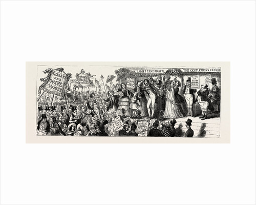 Parliamentary Elections and Electioneering in the Old Days: C. Cruikshank: The Rights of Women, or a View of the Hustings with Female Suffrage, 1853 by Anonymous