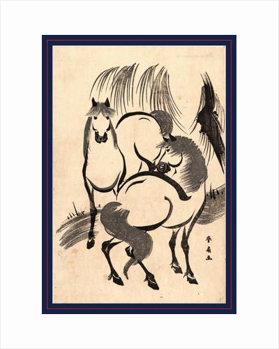 Ryuka No Uma, Horses Under a Willow Tree by Anonymous