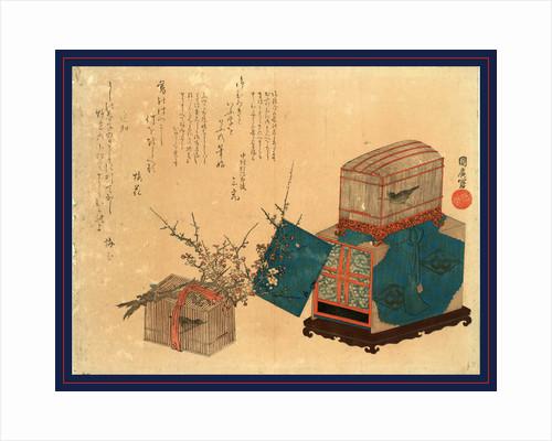 Ume Ni Kago No Uguisu, Caged Bush Warbler and Plum by Anonymous