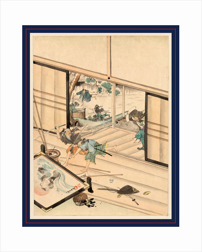 Scene During the Attack on Kira Yoshinaka's Home by the 47 Ronin, with the Samurai Chasing Kira's Guards Into the House. by Anonymous