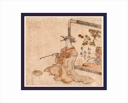 Chinese Sage As a Woman Holding a Pipe, Sitting in Front of a Screen. by Anonymous