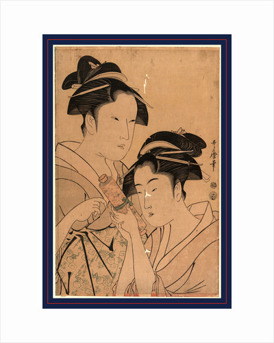 Head-and-Shoulders Portraits of Two Beautiful Women, Osen Waitress at the Kagiya Teahouse, and Ohisa from the Takashima Teahouse by Anonymous