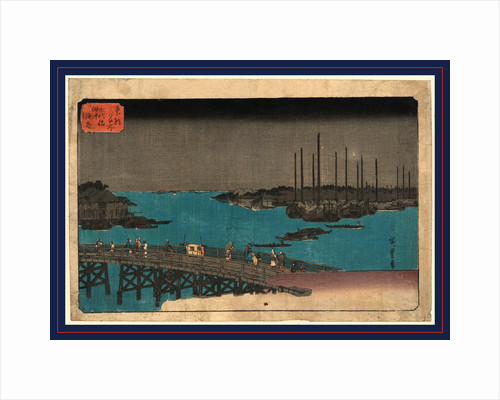 Pedestrians with Palanquin Crossing Bridge with Large Boats Moored in the Background by Anonymous