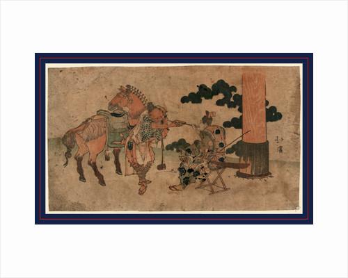 Tabako o suu shinji no futari, Two people having a smoke at a shrine festival by Totoya Hokkei