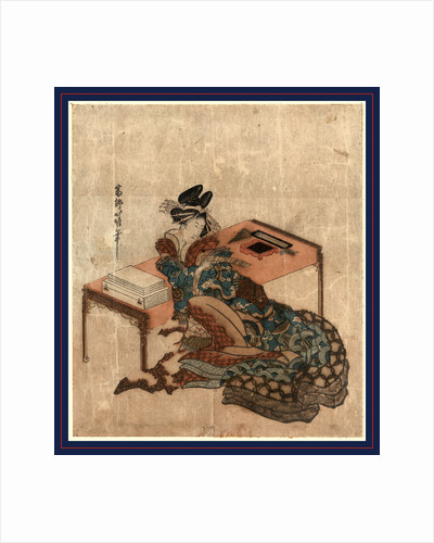 Courtesan Seated with Her Back against a Writing Desk, Holding a Slip of Paper (Tanzaku) with a Poem Written on It. by Anonymous