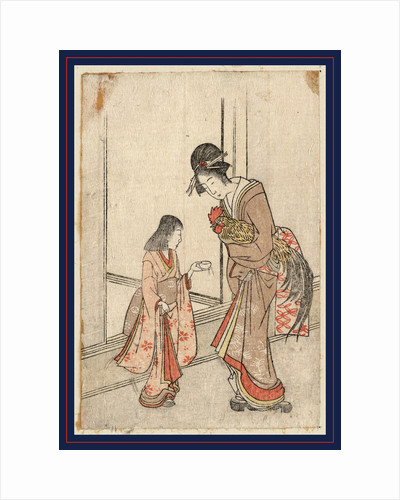 Woman Holding a Rooster to which a Young Female Attendant Offers a Cup of Water. by Anonymous