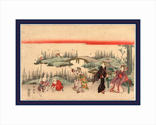 Three Women and Two Boys Next to a Small Shrine Along the Shore, One of the Women and One of Boys Have Nets with which They Are Trying to Catch Fireflies by Anonymous