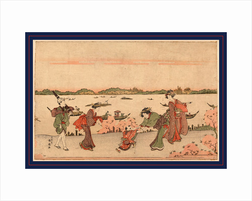 Three Women with a Male Attendant Carrying a Parasol, and a Child Walking Along Riverbank Among Cherry Trees by Anonymous
