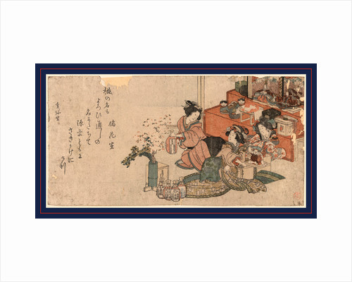 Three Women Preparing Bottles of Rice Wine for the Festival of Dolls by Anonymous
