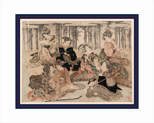 Seven Women Portraying the Seven Sages of the Bamboo Grove, Sitting Together with Musical Instruments (Shamisen, Koto, and Recorder), Tobacco Pipes, and a Scroll by Anonymous