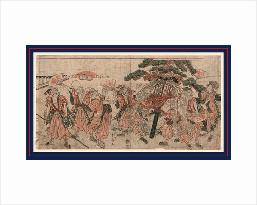 the Seven Lucky Gods of Japan with Large Festive Display with Pine Boughs from which a Large Fish is Hanging by Anonymous