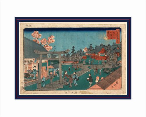 Fukagawa hachimangu keidai, Inside Fukagawa Hachiman Shrine by Utagawa Kuniteru